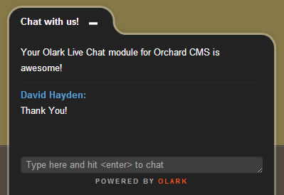 Olark Live Chat on Orchard CMS Website