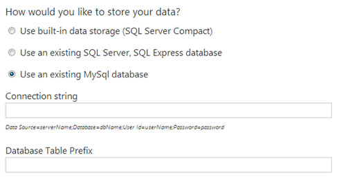 Orchard CMS and MySQL Database