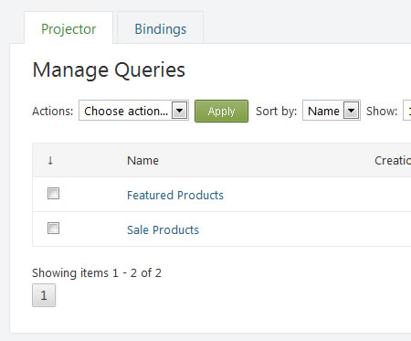 Manage Queries with Projector Module in Orchard CMS