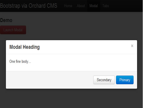 Twitter Bootstrap Modal Dialog and Orchard CMS