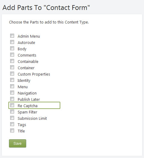 Add reCaptcha Part to Custom Form in Orchard CMS