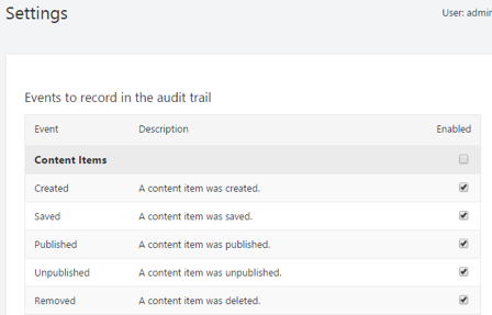 Audit Trail Settings in Orchard CMS