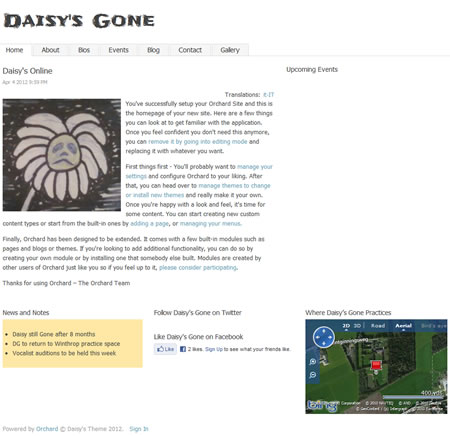 Daisy's Gone Website in Orchard CMS