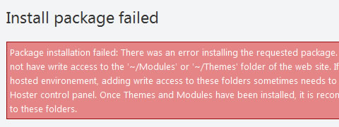 Install Package Failed Orchard CMS