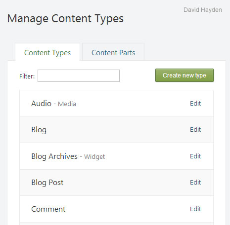 Manage Content Types and Content Parts in Orchard CMS