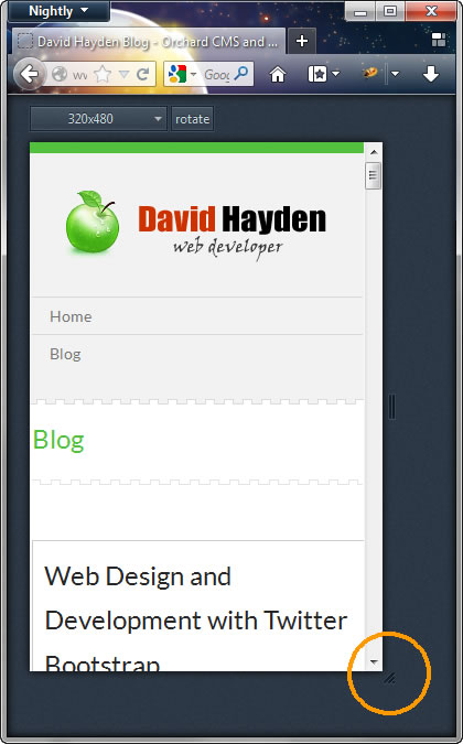 Mobile Development with Firefox 15 and Responsive Mode
