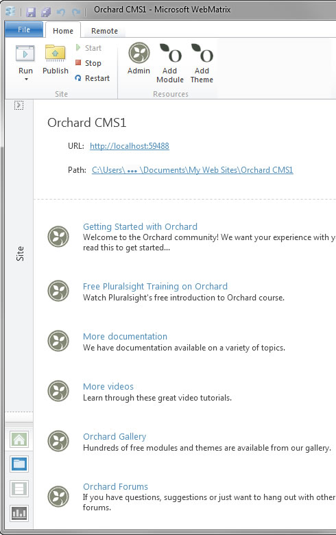 Microsoft WebMatrix 2 and Orchard CMS