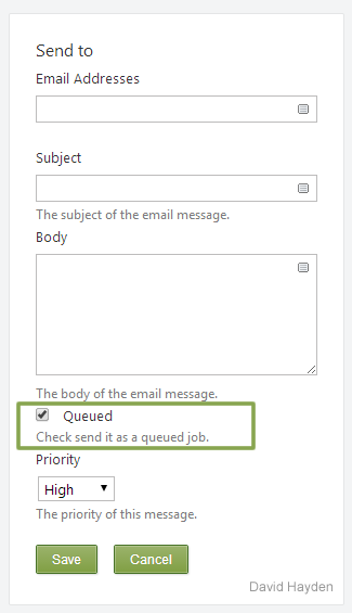 Select Queued to send email message asynchronously using Jobs Queue in Orchard CMS