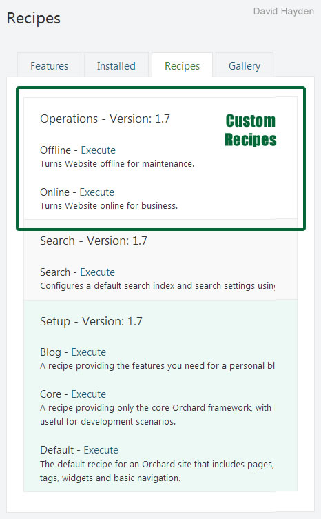 Orchard CMS 1.7 and Orchard Recipes
