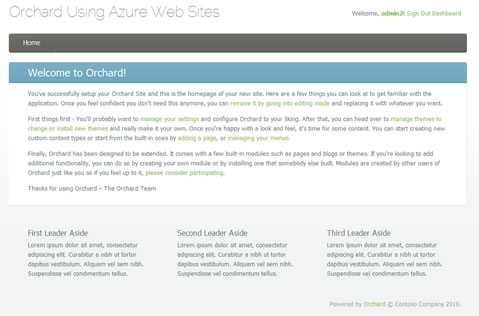 Orchard CMS Running on Windows Azure
