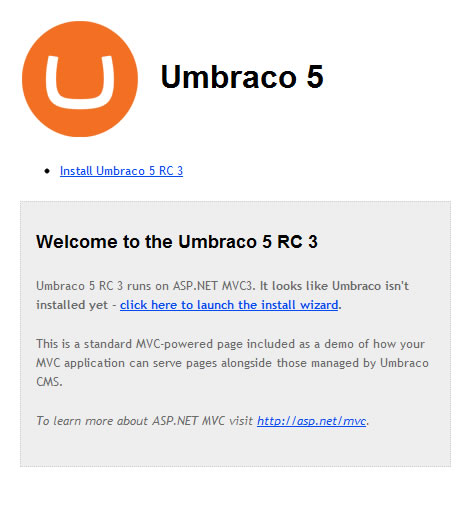 Umbraco 5 Installation Screen