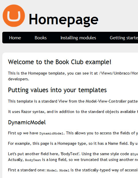 Umbraco 5 Website Homepage