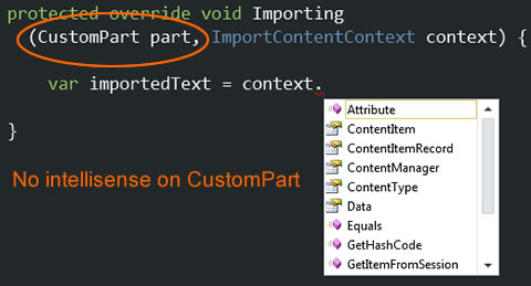 No Intellisense and code completion in WebMatrix for Orchard CMS Custom Classes