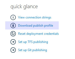 Download Publish Profile for Orchard Website on Azure Management Portal