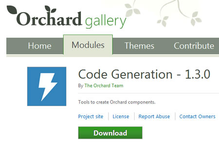 Download Custom Orchard Module and Orchard Theme from Orchard Gallery