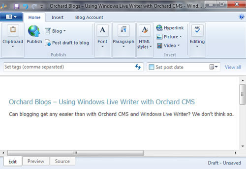Windows Live Writer and Orchard Blog Engine
