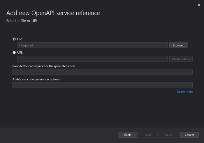Add New OpenAPI Service Reference Visual Studio 2019