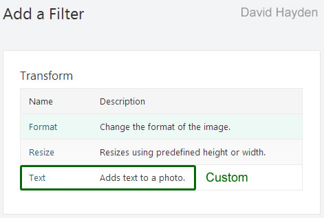 Image Filter in Orchard CMS