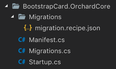 Custom Orchard Core CMS Module Bootstrap 4 Card Widget