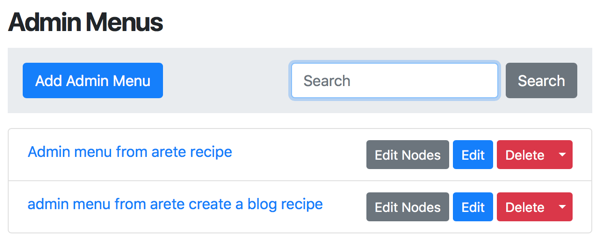 Admin Menus in Orchard Core CMS Themes with Setup Recipes and Custom Recipes