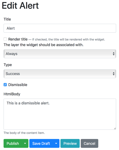 Develop Custom Orchard Core CMS Widget that displays dismissible Bootstrap Alerts