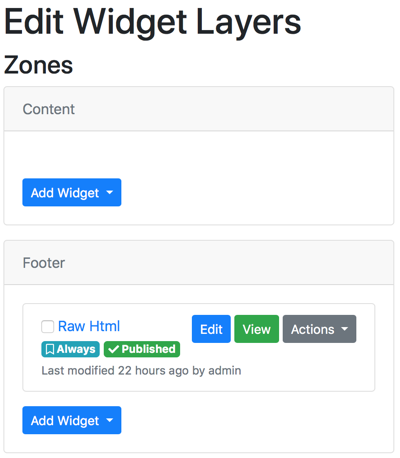 Edit Widget Layers Zones in Orchard Core CMS