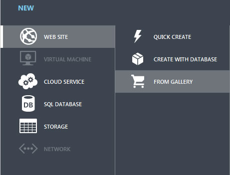 Install Orchard CMS from Windows Azure Gallery