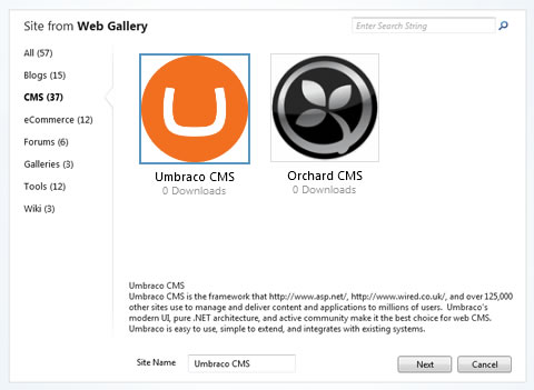 Installing Umbraco 5 with Microsoft WebMatrix and Web Gallery