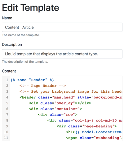 Liquid Templates in Orchard Core CMS