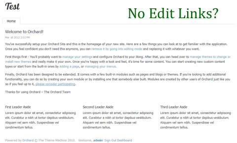 No Edit Links around Content and Widgets in Orchard CMS 1.4
