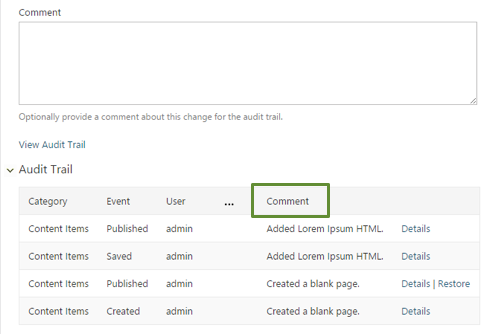 Add Comments to Audit Trail in Orchard CMS