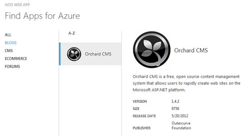 Orchard CMS in Windows Azure App Gallery