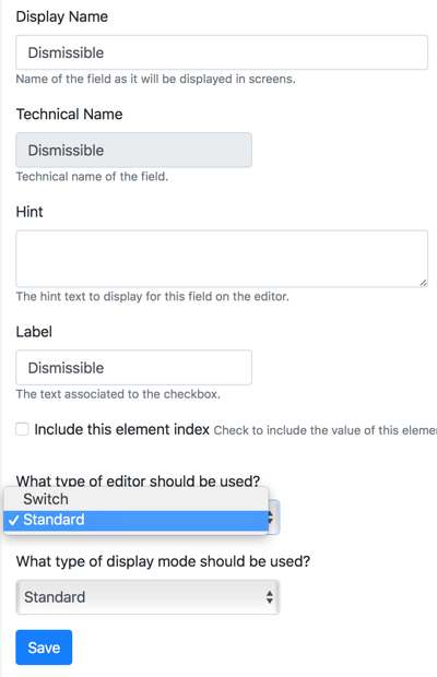 Boolean Field Standard Editor is a Checkbox in Orchard Core CMS