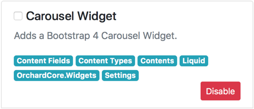 Bootstrap 4 Carousel Widget for Orchard Core CMS