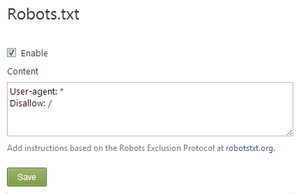 robots.txt Orchard CMS Module using Infoset