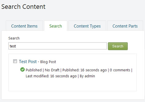 Search Content in Orchard CMS as Admin from Orchard Dasboard
