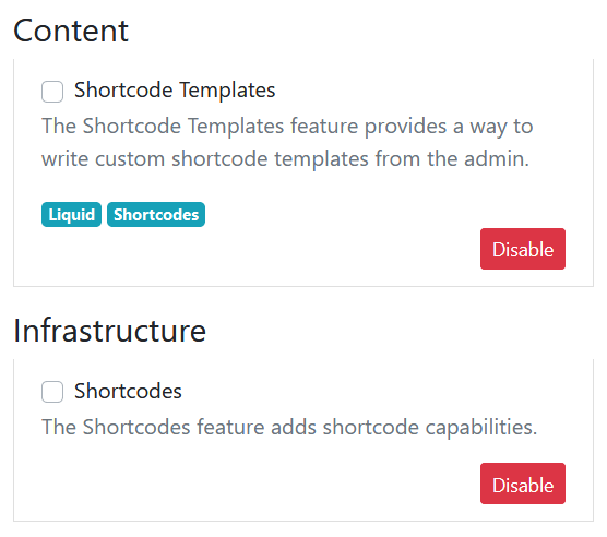 Shortcode Templates Feature Orchard Core CMS
