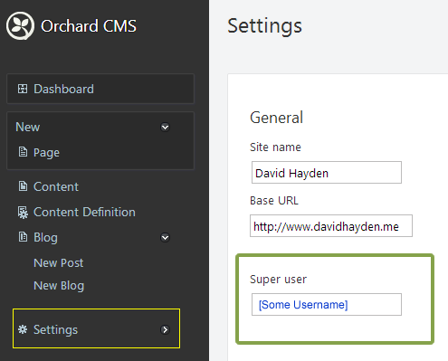Super User Orchard CMS