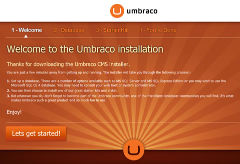 Umbraco 5 Welcome Installation Screen