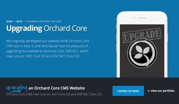 Upgrading Orchard Core CMS Developer Website