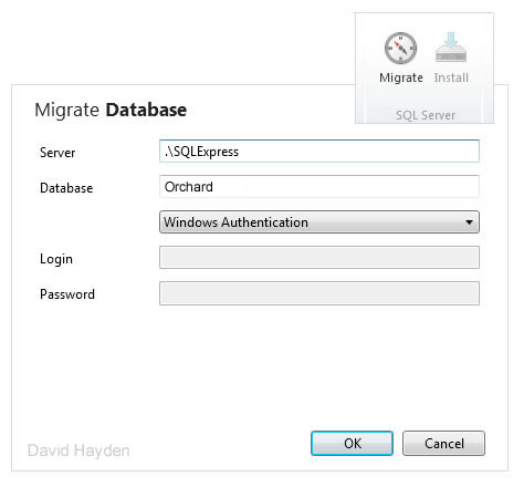 WebMatrix Database Migration for Orchard CMS