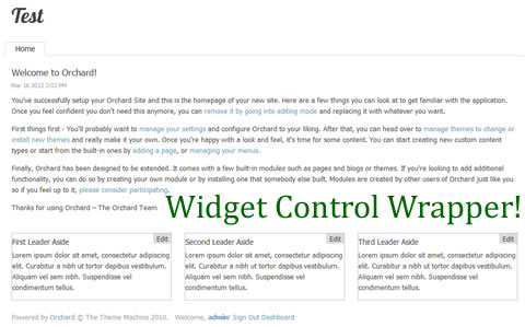 Widget Control Wrapper Creates Edit Links Around Widgets in Orchard CMS
